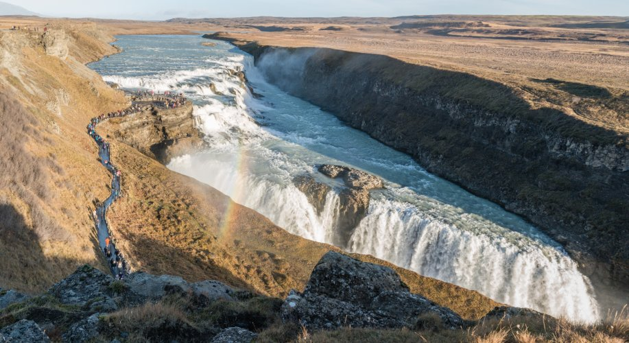 A panoramic view of Gullfoss