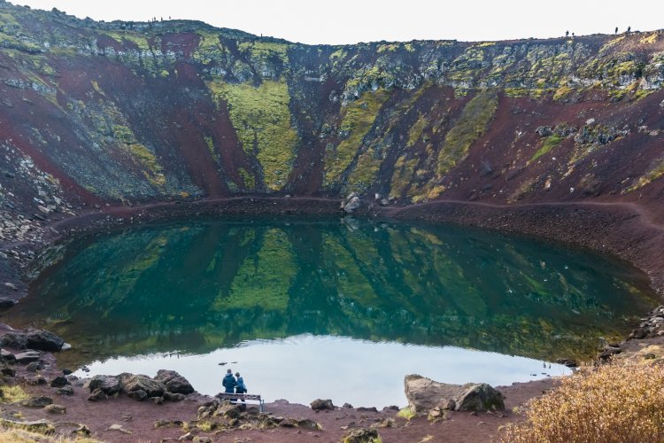 Partway into the crater at Kerið
