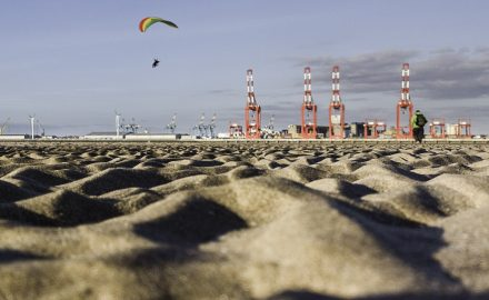 Paraglider over the Mersey at New Brighton