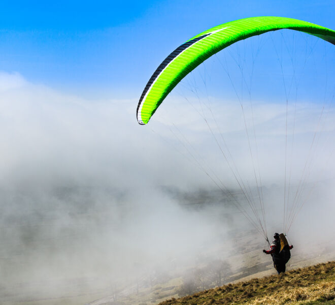 Paragliding in the mist
