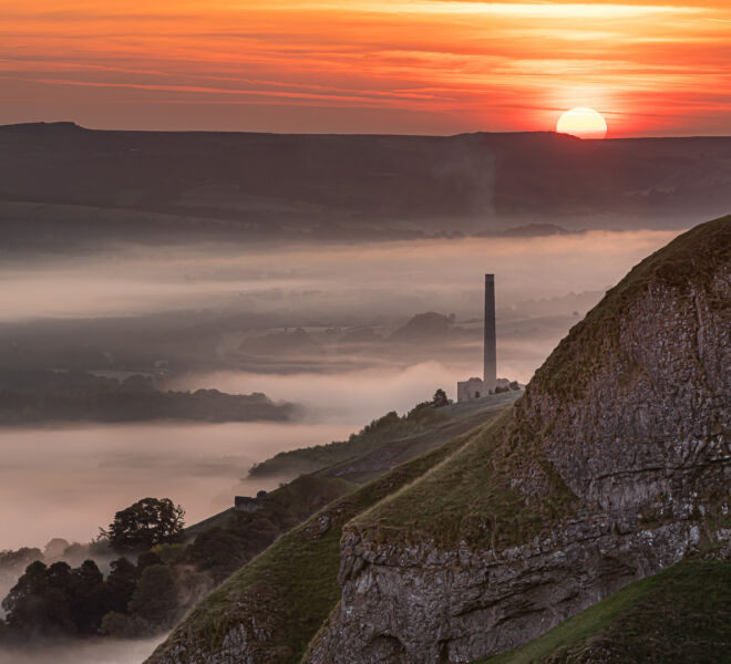 Sun-up over Hope Cement Works