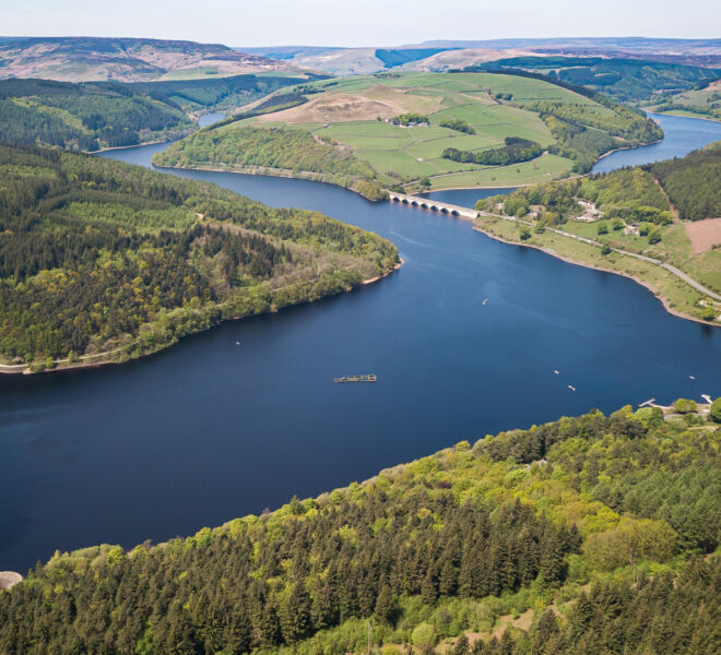 A drone view from Bamford Edge