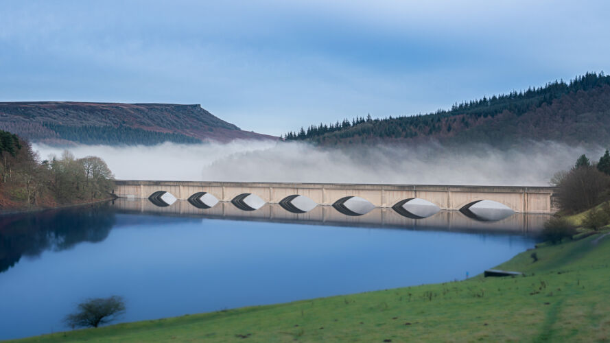Misty on one side of the road Ladybower